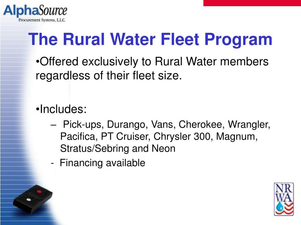 The Rural Water Fleet Program