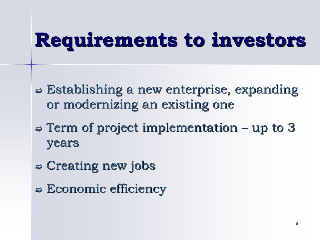 Requirements to investors