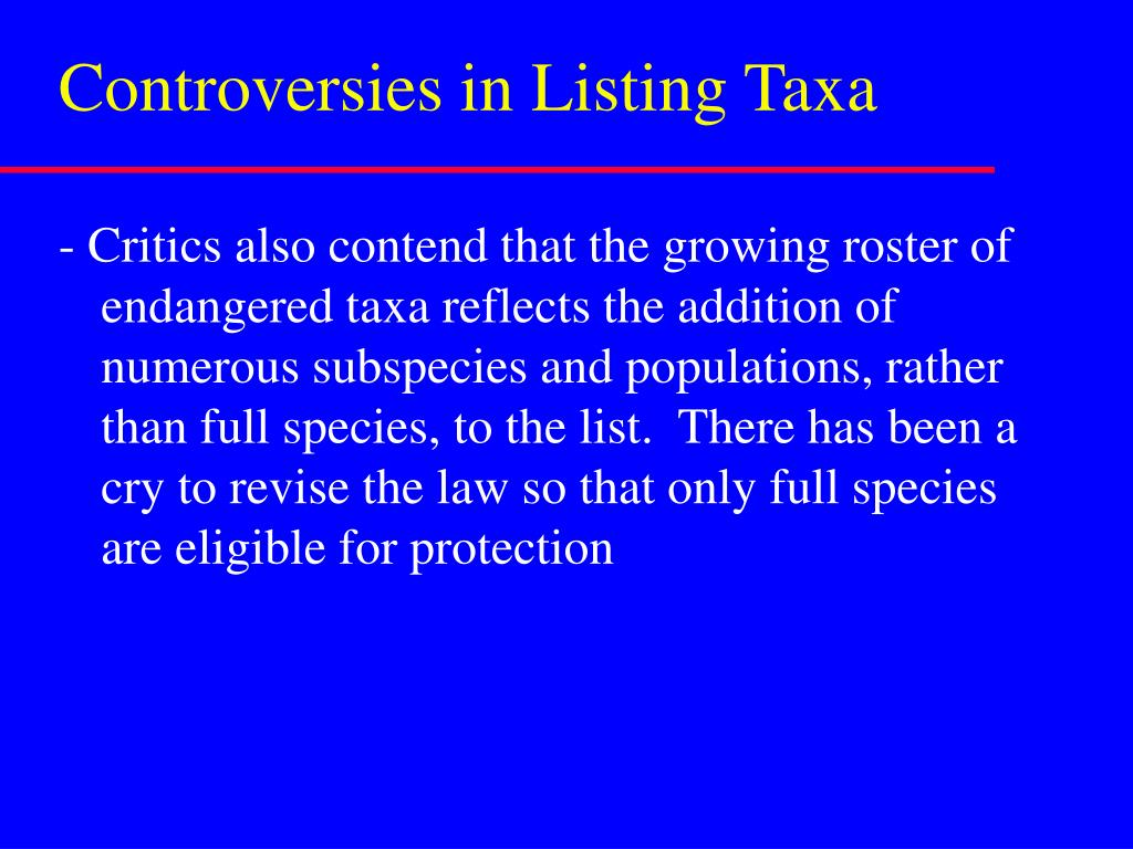 Controversies in Listing Taxa