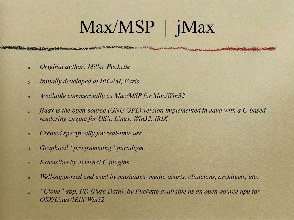 Max/MSP  |  jMax
