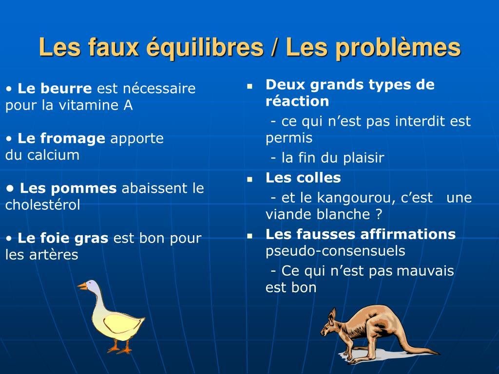Les faux équilibres / Les problèmes
