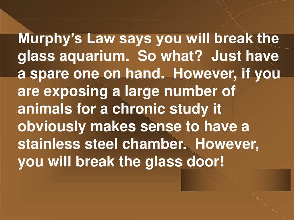 Murphy's Law says you will break the glass aquarium.  So what?  Just have a spare one on hand.  However, if you are exposing a large number of animals for a chronic study it obviously makes sense to have a stainless steel chamber.  However, you will break the glass door!