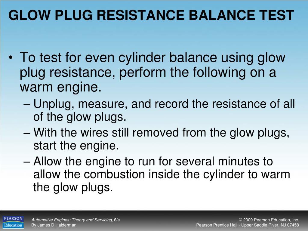 GLOW PLUG RESISTANCE BALANCE TEST