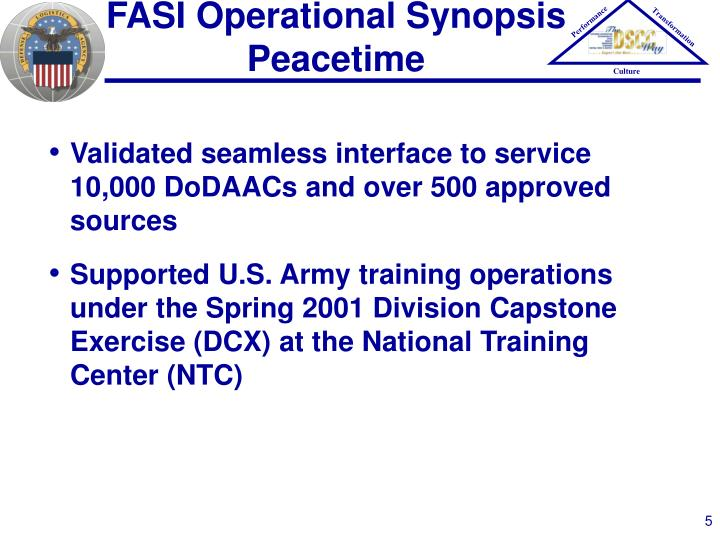 FASI Operational Synopsis