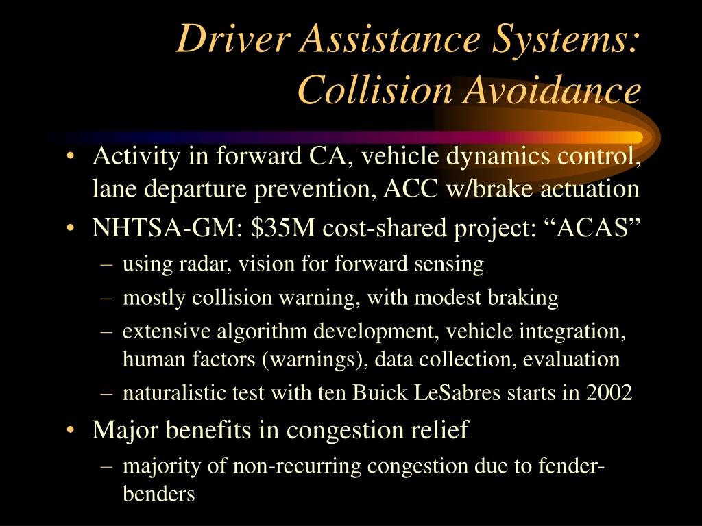 Driver Assistance Systems:  Collision Avoidance
