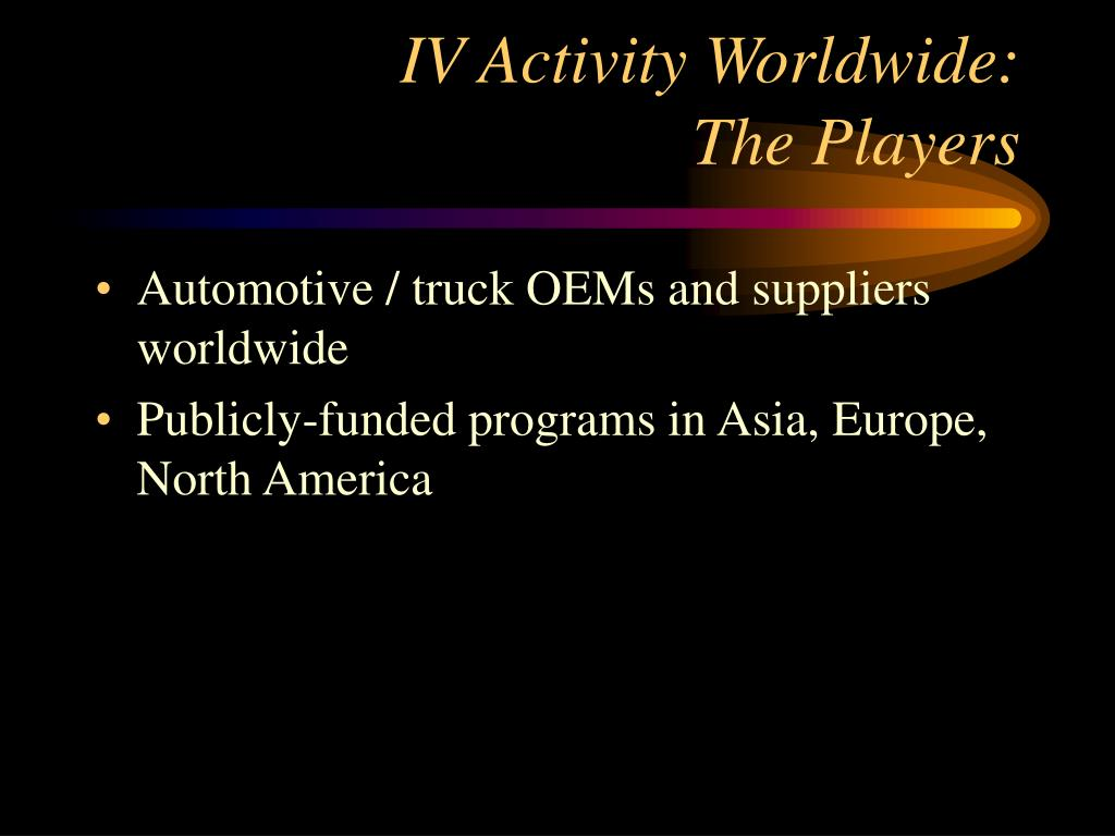 IV Activity Worldwide: