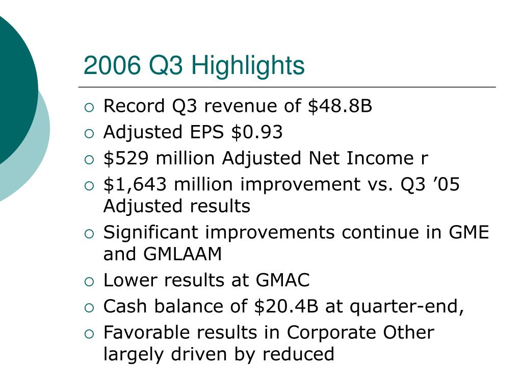 2006 Q3 Highlights