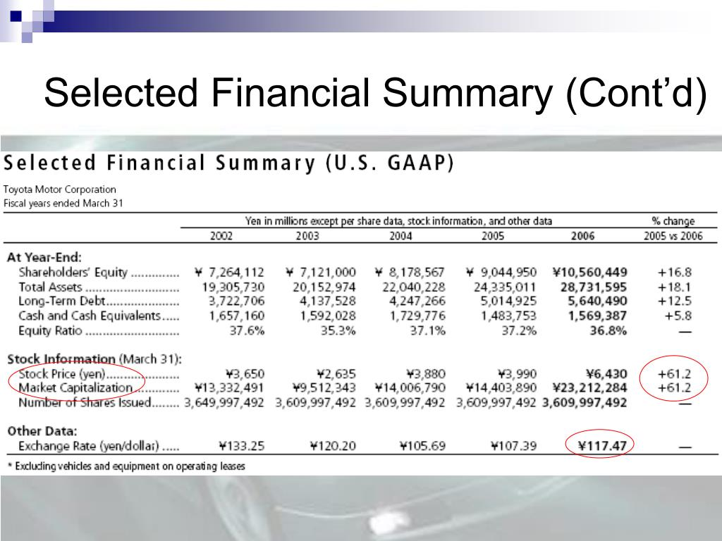 Selected Financial Summary (Cont'd)