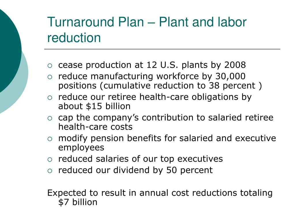 Turnaround Plan – Plant and labor reduction