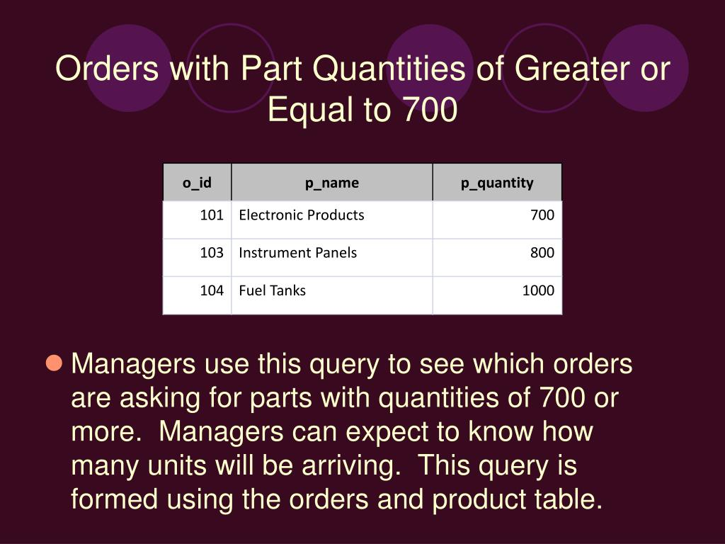 Managers use this query to see which orders are asking for parts with quantities of 700 or more.  Managers can expect to know how many units will be arriving.  This query is formed using the orders and product table.