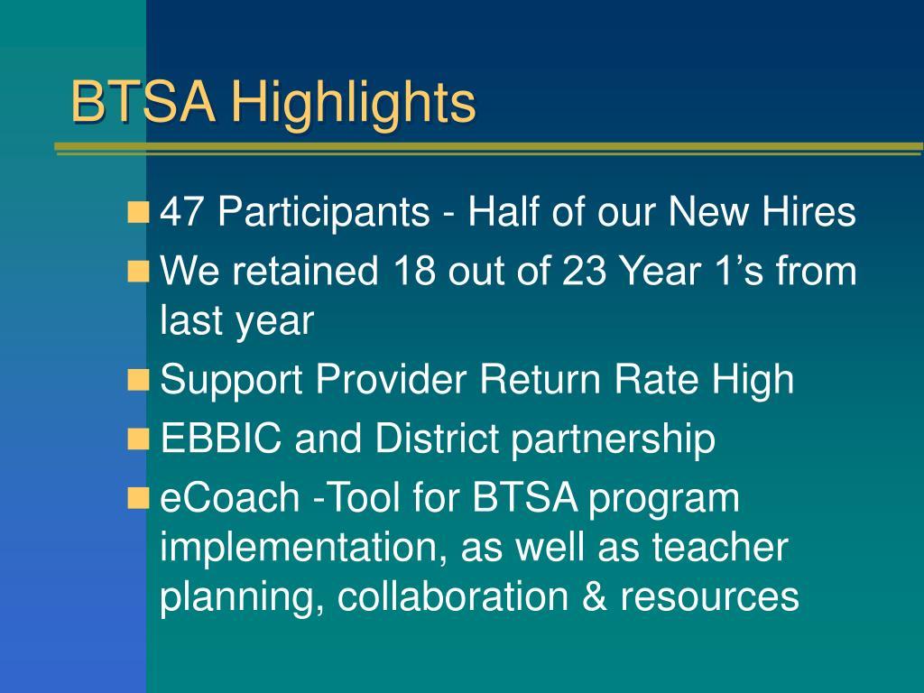 BTSA Highlights