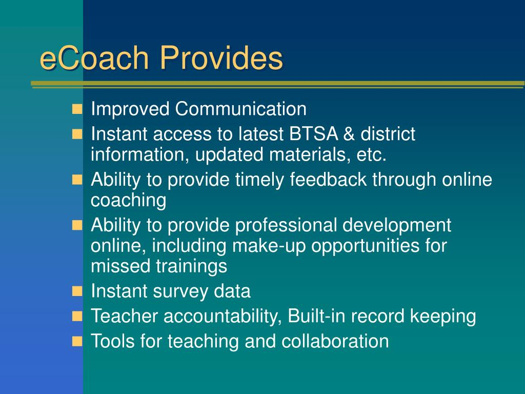 eCoach Provides