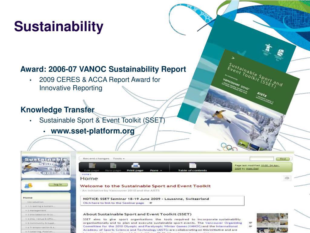 Award: 2006-07 VANOC Sustainability Report