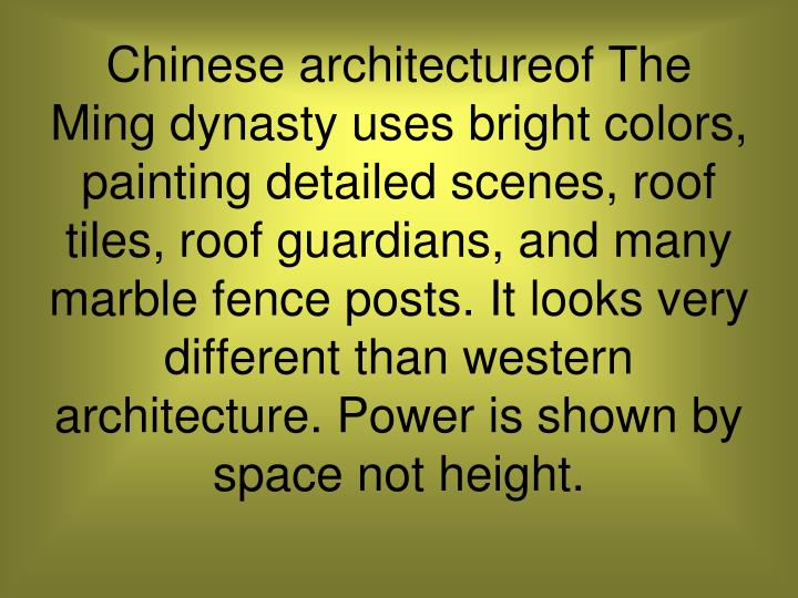 Chinese architectureof The Ming dynasty uses bright colors, painting detailed scenes, roof tiles, ro...