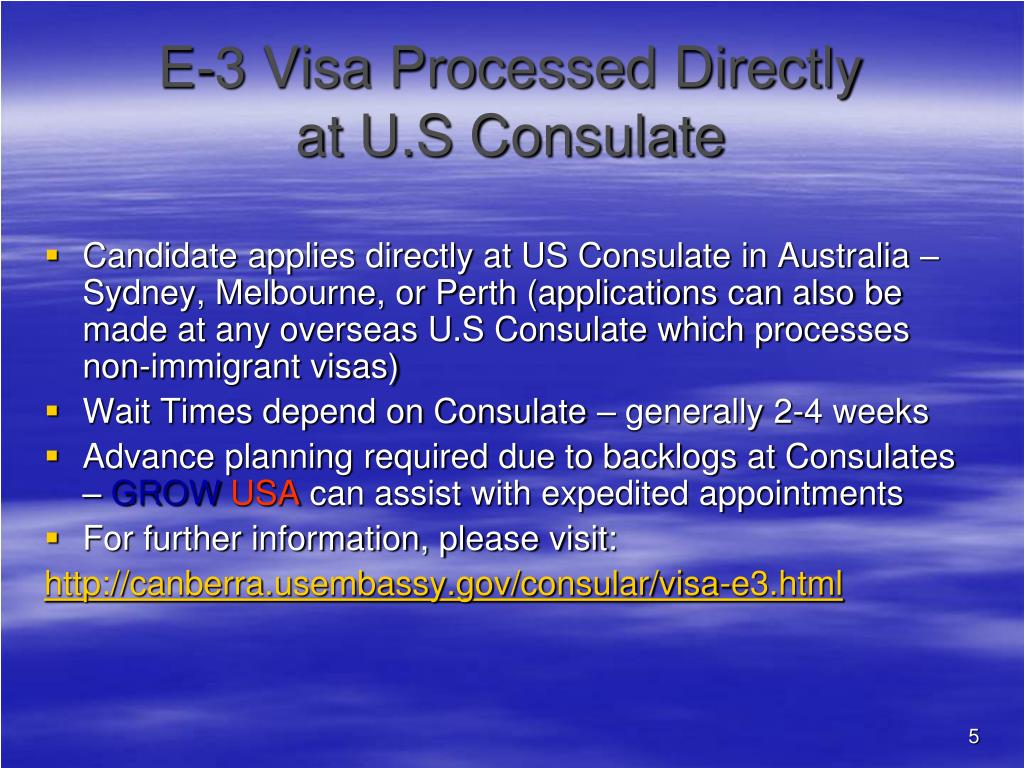 E-3 Visa Processed Directly