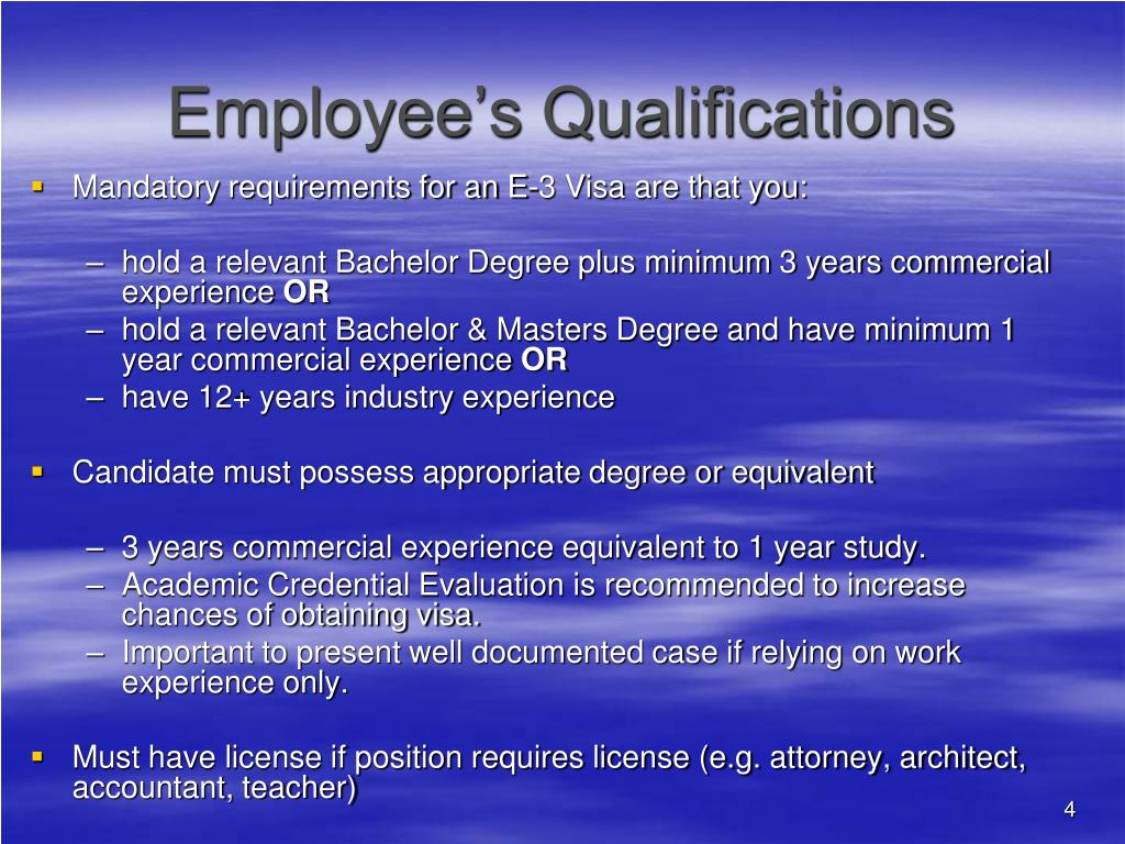 Employee's Qualifications
