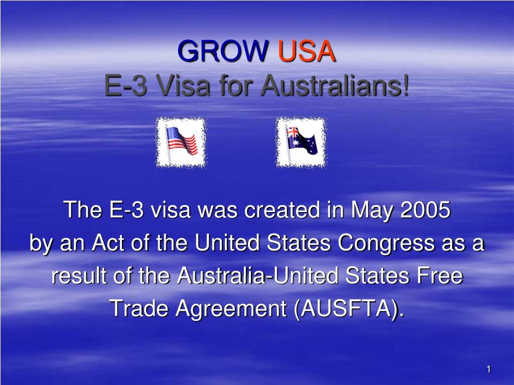 grow usa e 3 visa for australians