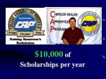 10 000 of scholarships per year