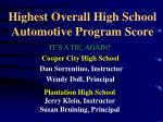 highest overall high school automotive program score