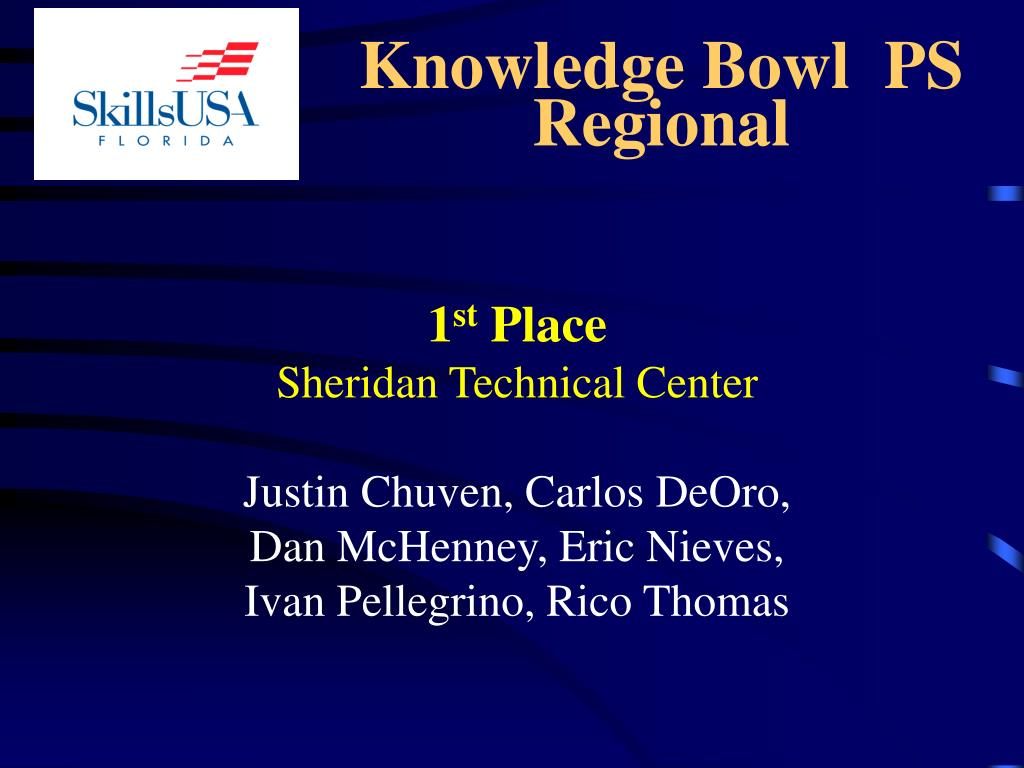 Knowledge Bowl  PS Regional