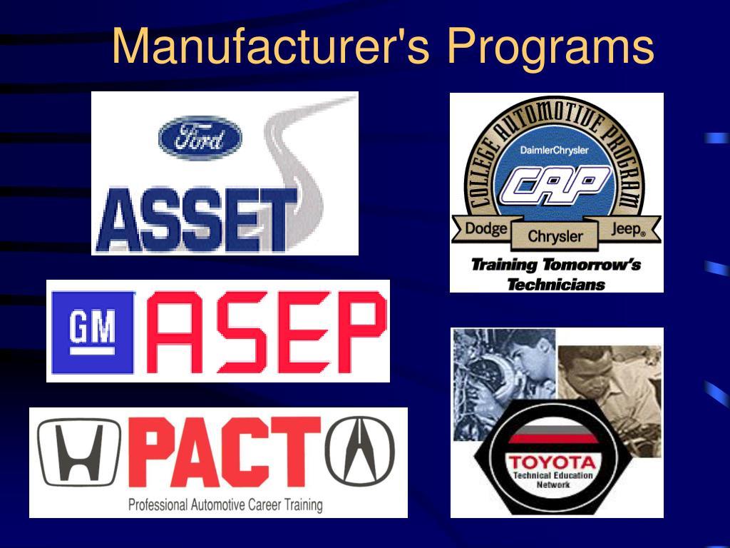 Manufacturer's Programs