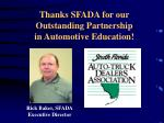 thanks sfada for our outstanding partnership in automotive education