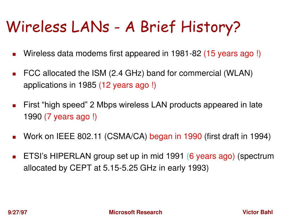 Wireless LANs - A Brief History?