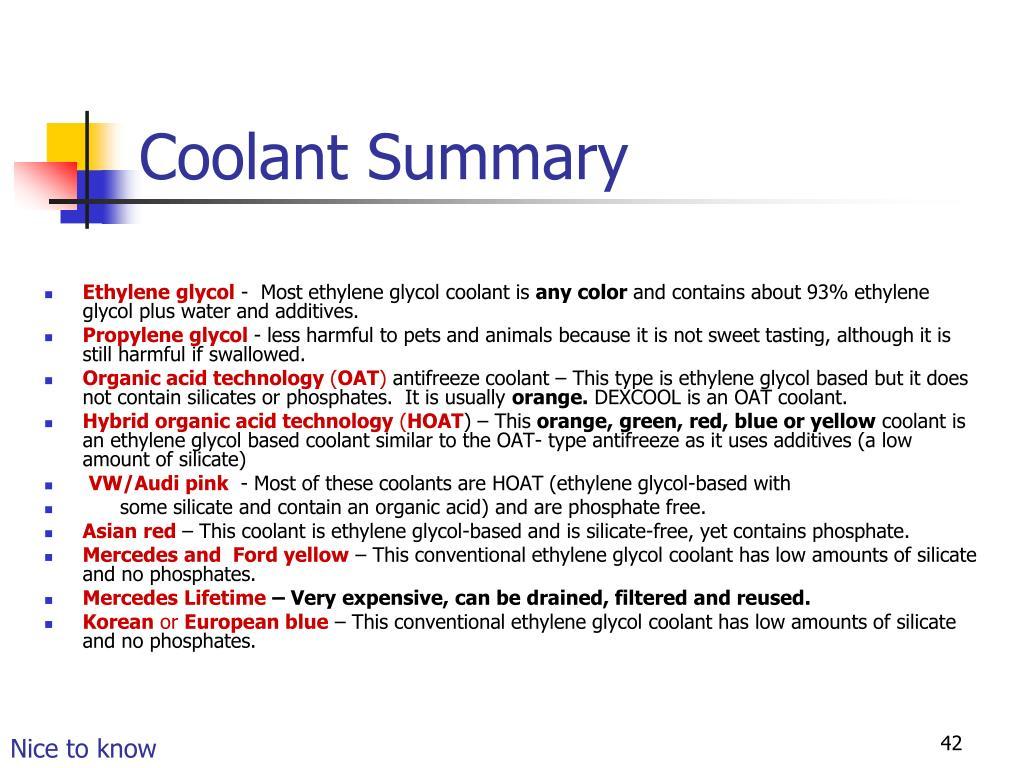 Coolant Summary