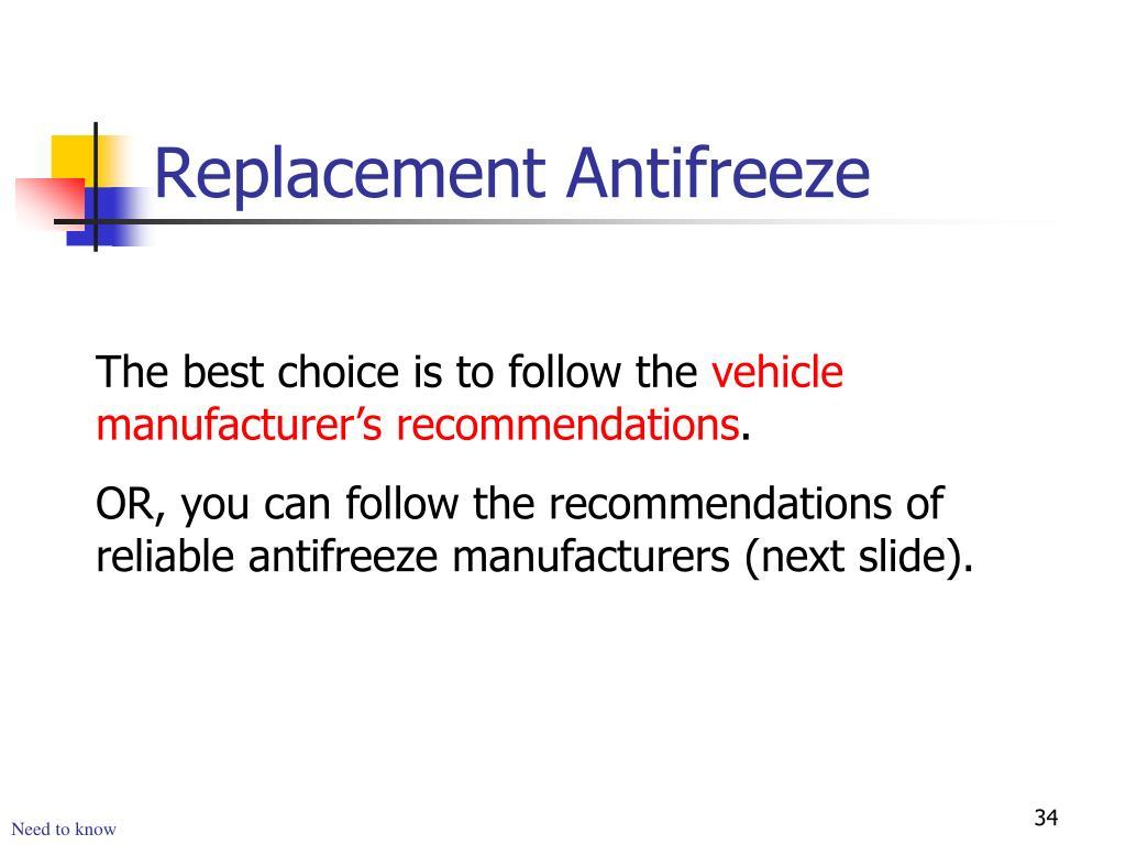 Replacement Antifreeze