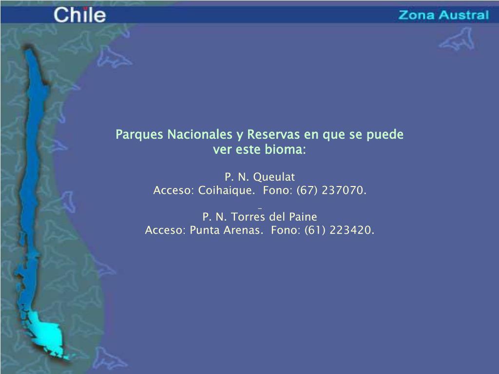 Parques Nacionales y Reservas en que se puede ver este bioma: