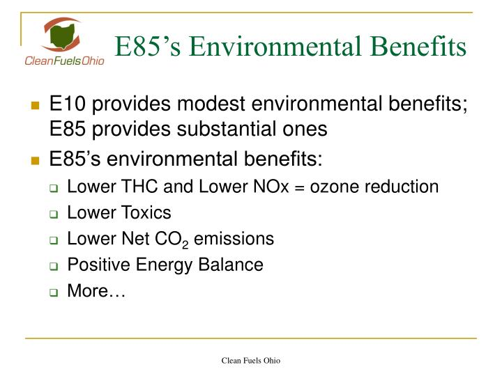 E85 s environmental benefits