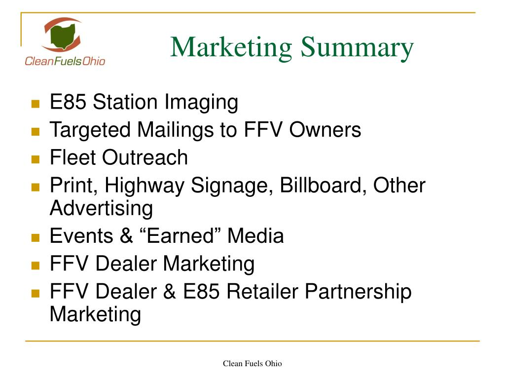 Marketing Summary