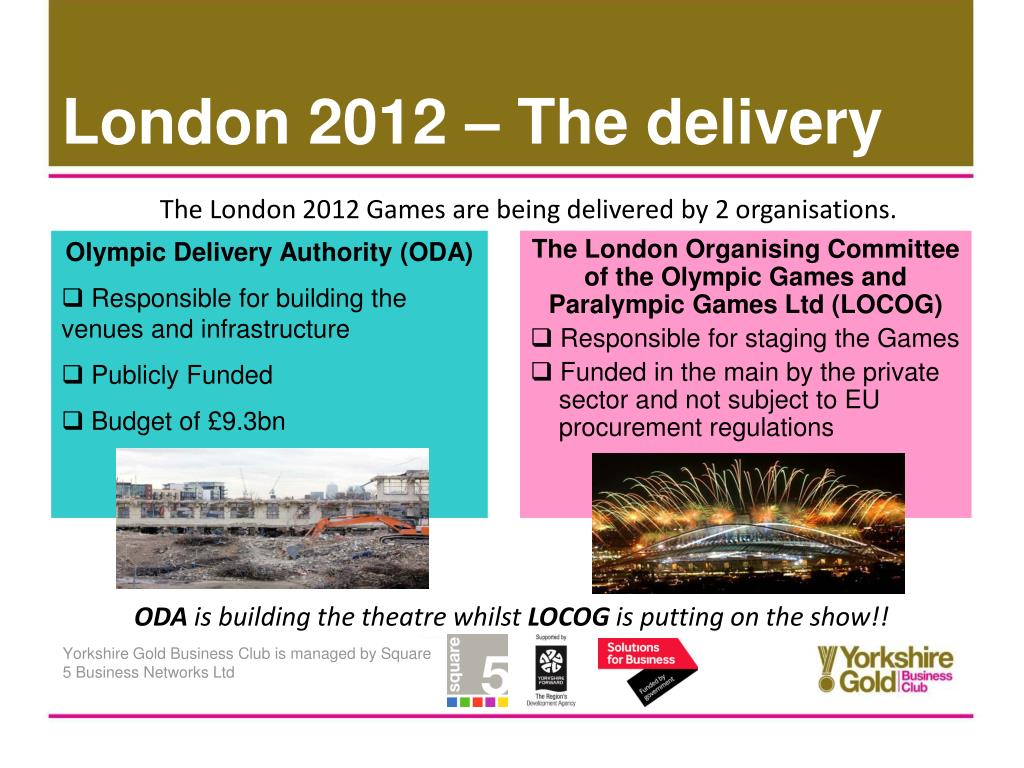 The London 2012 Games are being delivered by 2 organisations.