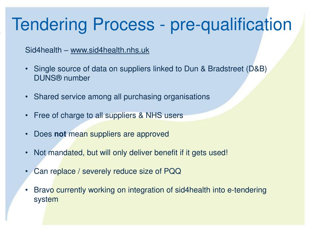 Tendering Process - pre-qualification