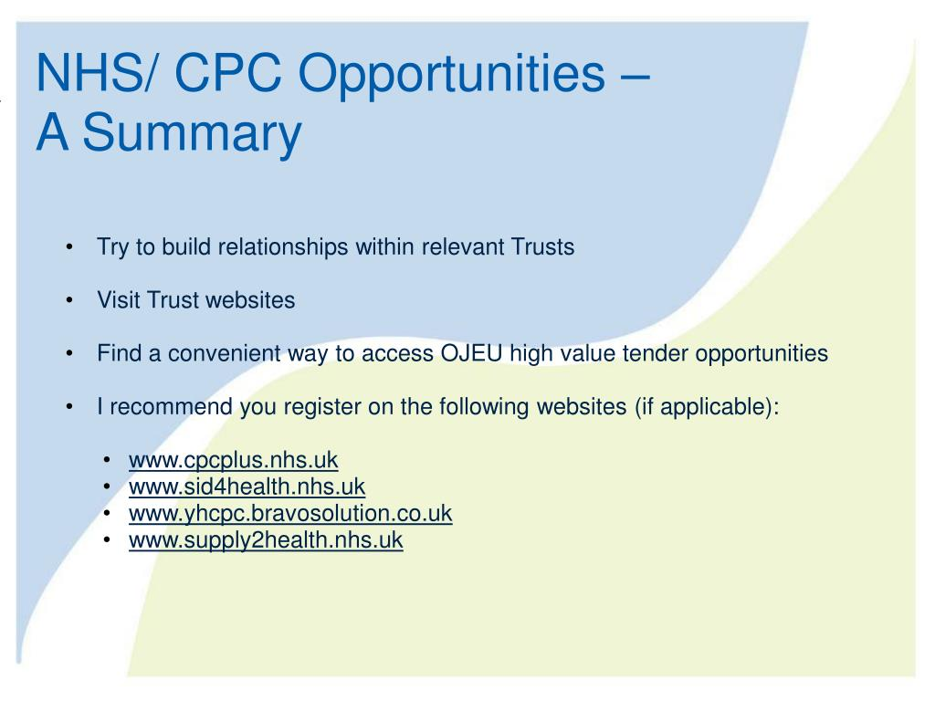 NHS/ CPC Opportunities –