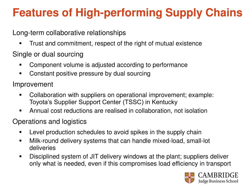 Features of High-performing Supply Chains