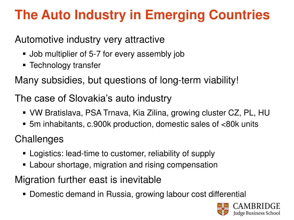 The Auto Industry in Emerging Countries