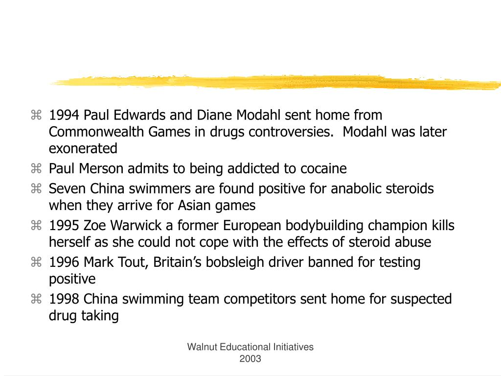 1994 Paul Edwards and Diane Modahl sent home from Commonwealth Games in drugs controversies.  Modahl was later exonerated