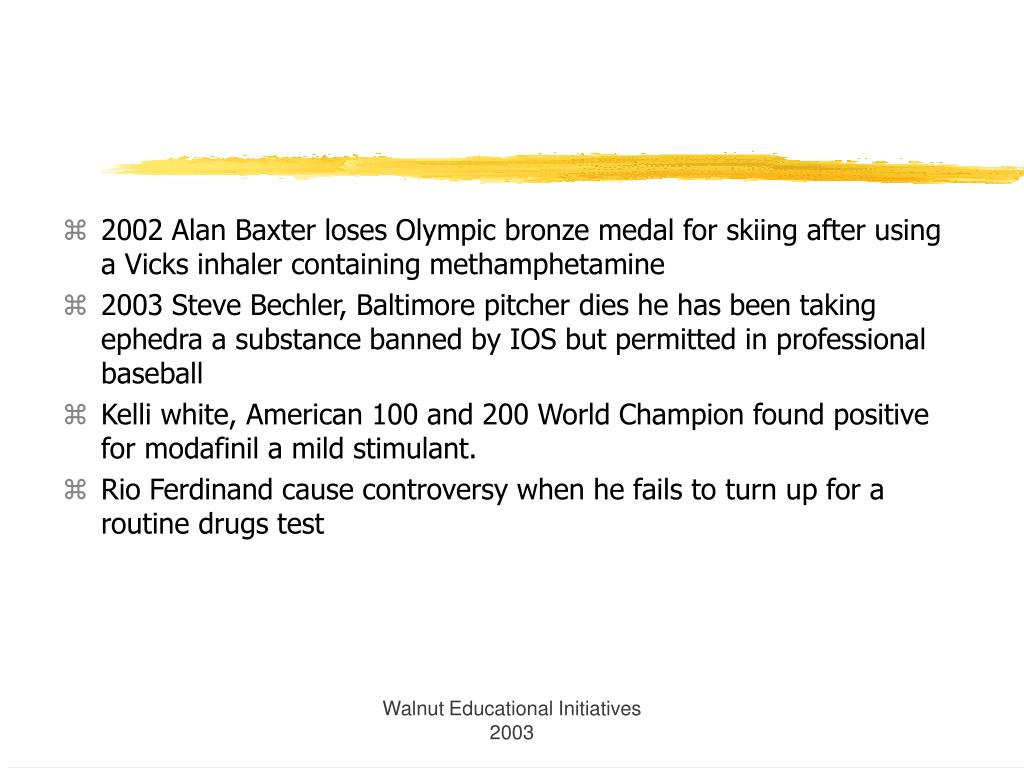 2002 Alan Baxter loses Olympic bronze medal for skiing after using a Vicks inhaler containing methamphetamine