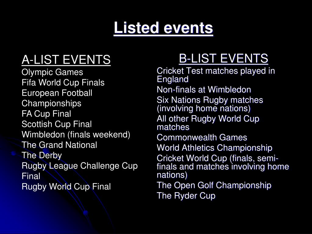 Listed events