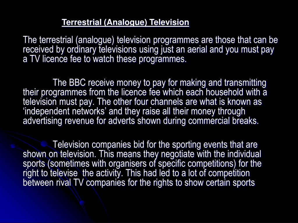Terrestrial (Analogue) Television