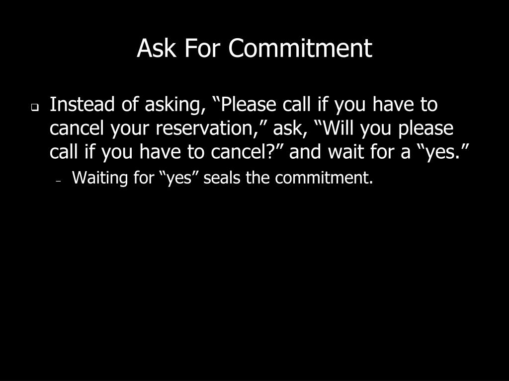 Ask For Commitment