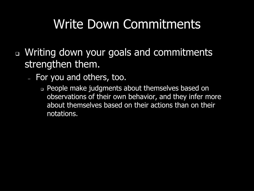 Write Down Commitments