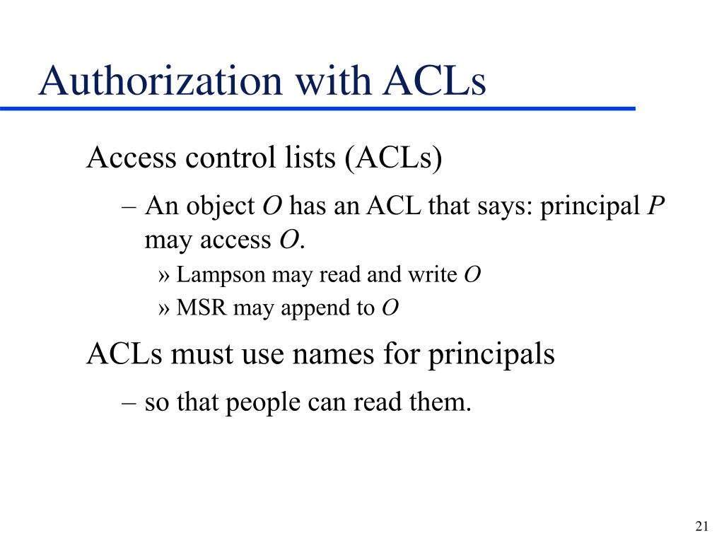Authorization with ACLs