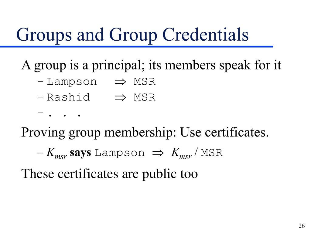 Groups and Group Credentials