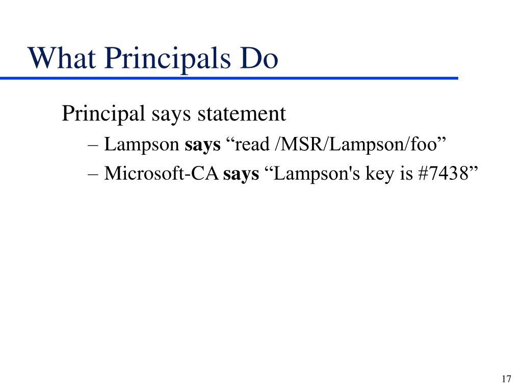 What Principals Do