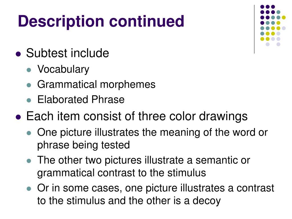 Description continued
