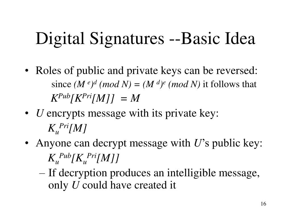 Digital Signatures --Basic Idea