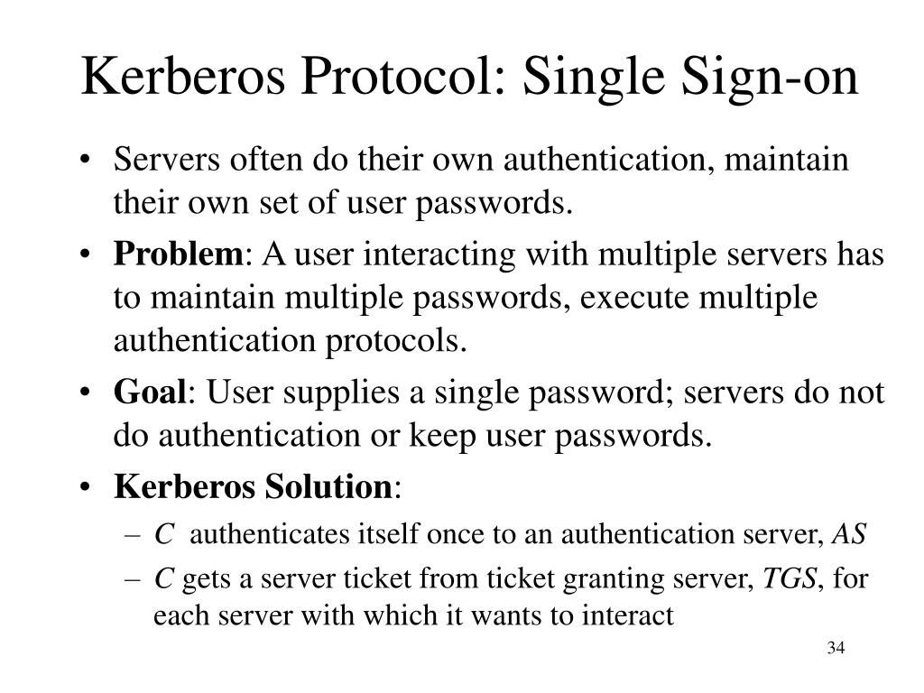 Kerberos Protocol: Single Sign-on