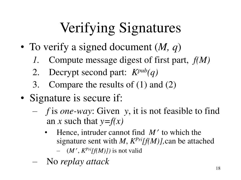 Verifying Signatures